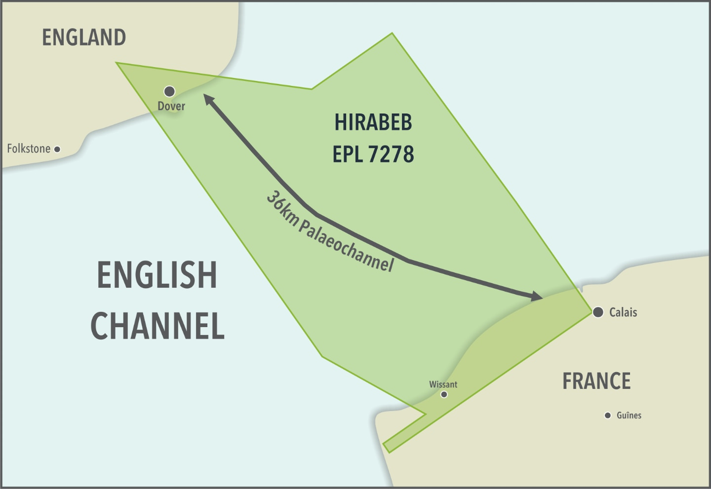 Figure 1 – Comparison of the Hirabeb Palaeochannel with the English Channel